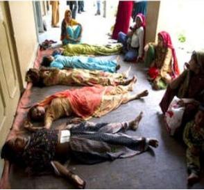 Oběti hromadné sterilizace v Indii. Foto: Twitter