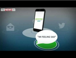 """Samaritan na Twitteru vyhledává """"sebevražedné"""" tweety jako třeba """"Jsem smutný."""" Repro: SKY News"""
