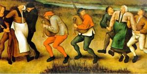 Léčba žen posedlých tancem svatého Víta na obraze Petera Breughela mladšího. Repro: Wikipedia