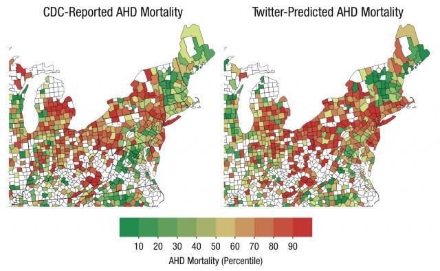 Srovnání skutečné (vlevo) a na základě vyjádření na sociální síti Twitter předpokládané úmrtnosti na srdeční příhody. Foto: Psychological Science / University of Pennsylvania.