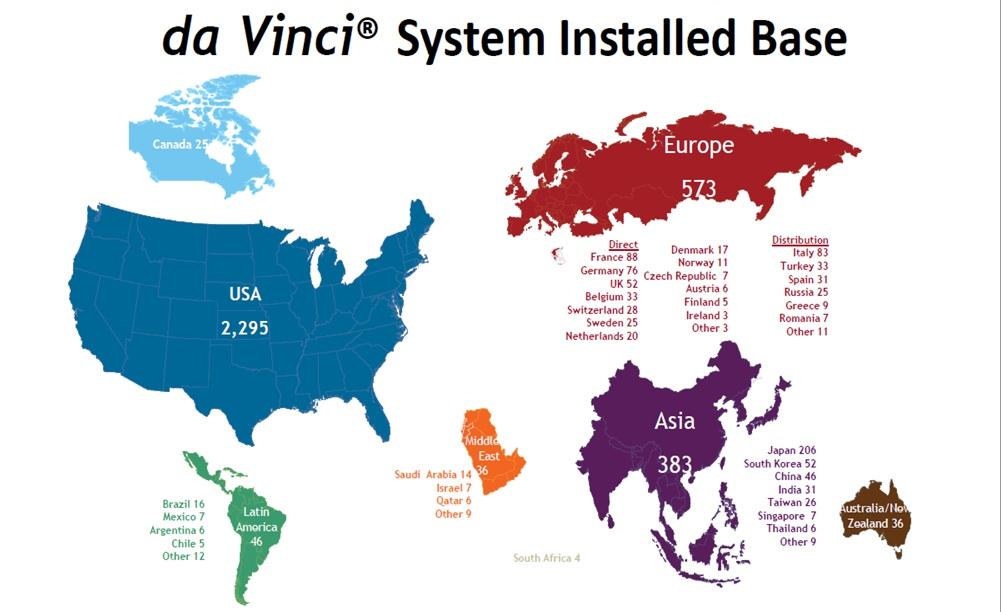 Kde se na světě nacházejí roboty Da Vinci. Zdroj: prof. Vladimír Študent