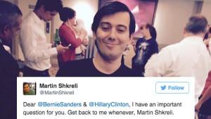 Martin Shkreli se na svém twitrovém účtu vyrovnal s kritikou prezidentských kandidátů na prezidenta USA po svém.