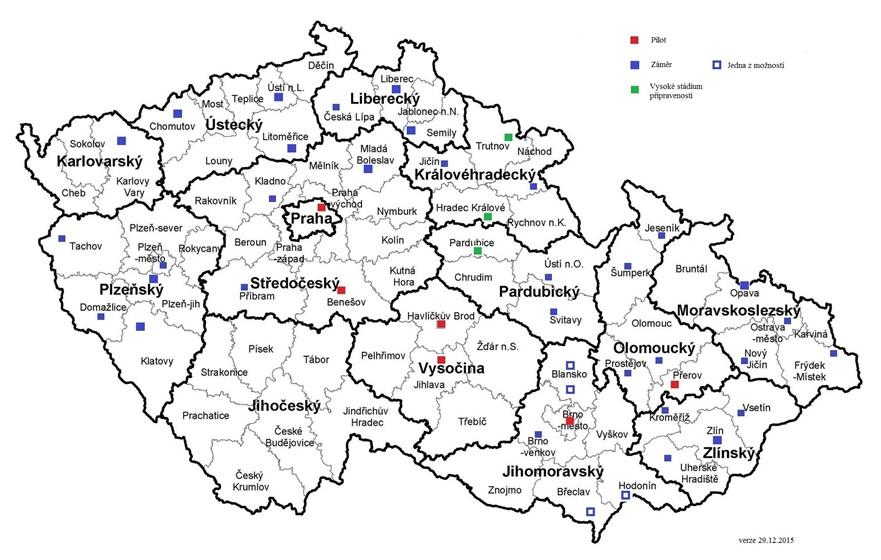 První nezávazný návrh mapy center duševního zdraví, prozatím bez Jihočeského kraje, který ještě nemá data. Zdroj: Martin Hollý