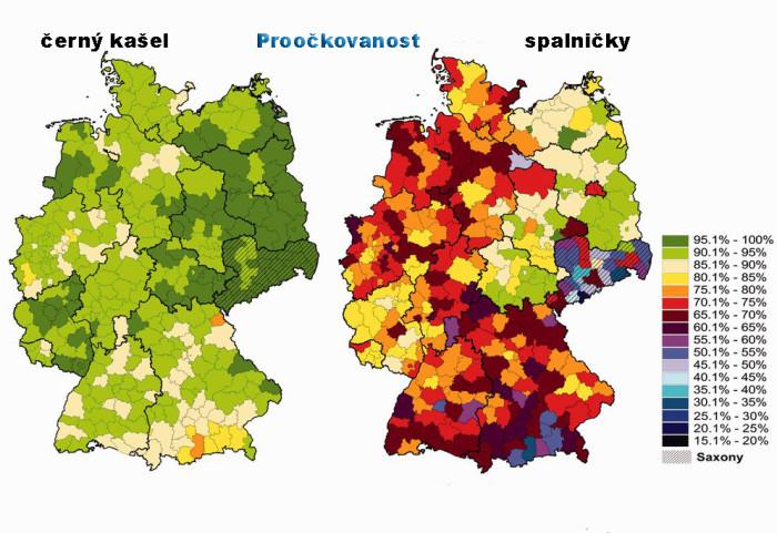 Proočkovanost v Německu vykazuje poměrně velké mezi-regionální rozdíly. Zdroj: The European Journal of Public Health