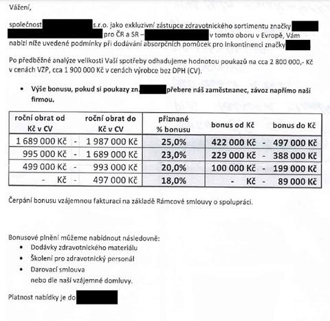 Jedna z nabídek zpětných bonusů, které vedly VZP k rychlému snížení maximálních cen inkontinenčních pomůcek. Zdroj: VZP