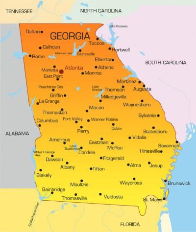 Americký stát Georgia, jehož jižním sousedem je v Česku mnohem známější Florida.
